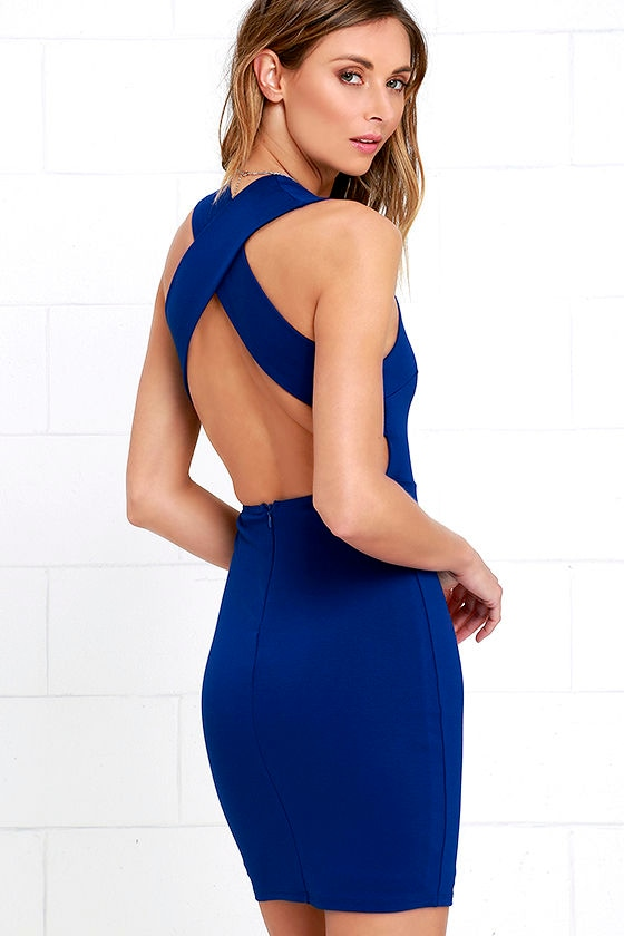 Sexy Royal Blue Dress - Bodycon Dress - Backless Dress - $45.00