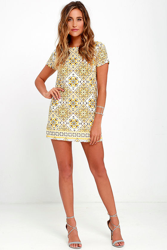 Dandy Lion Yellow Print Shift Dress 2