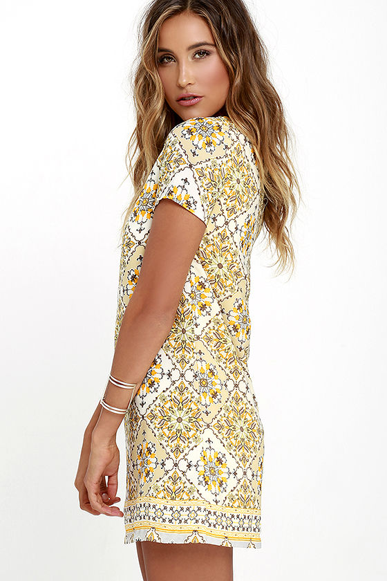 Dandy Lion Yellow Print Shift Dress 3