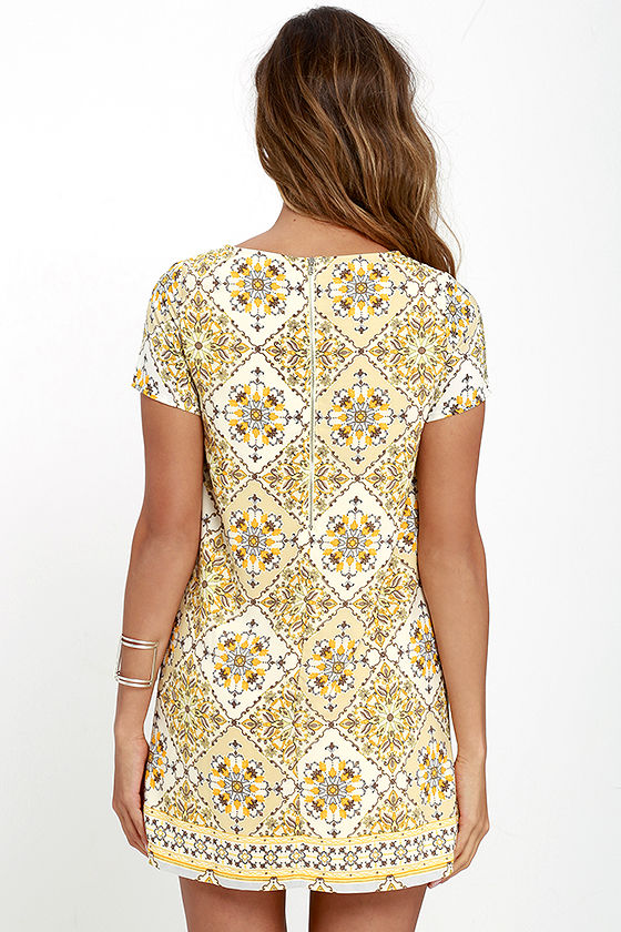 Dandy Lion Yellow Print Shift Dress 4