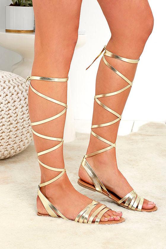 3083d4acf Cute Gold Sandals - Flat Sandals - Leg Wrap Sandals -  19.00