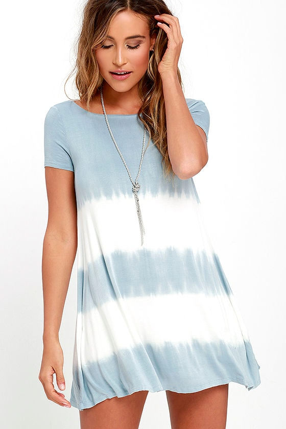 Bae Breeze Light Blue Tie-Dye Dress 1