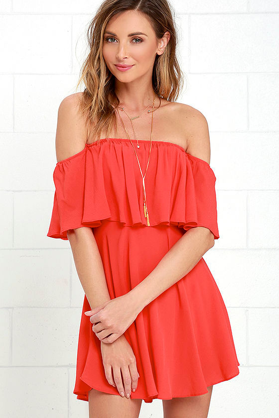 Fun Coral Red Dress - Off-the-Shoulder Dress - Woven Dress - $49.00