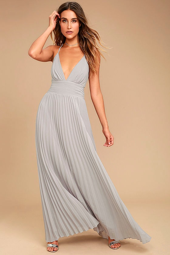 Stunning Grey Dress - Pleated Maxi Dress - Grey Gown - $78.00