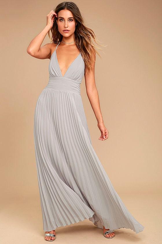 Grey chiffon maxi dress
