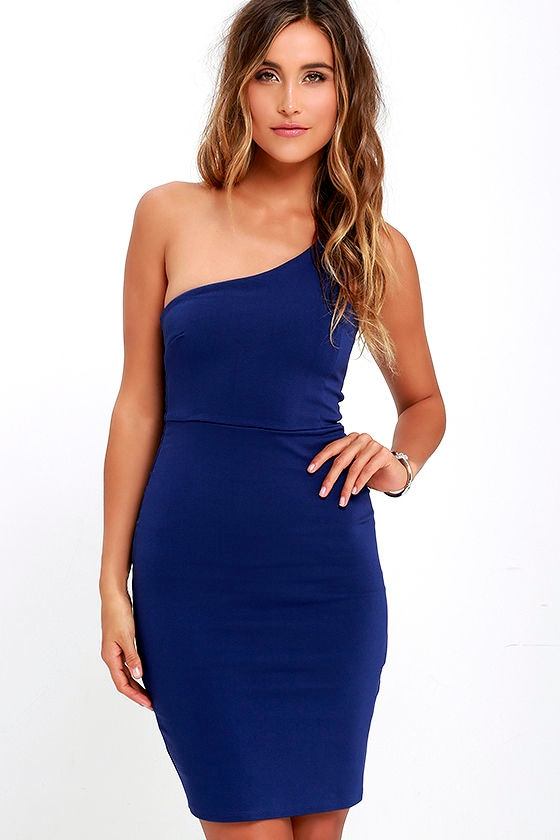 Sexy Royal Blue Dress - One Shoulder Dress - Bodycon Dress - $46.00