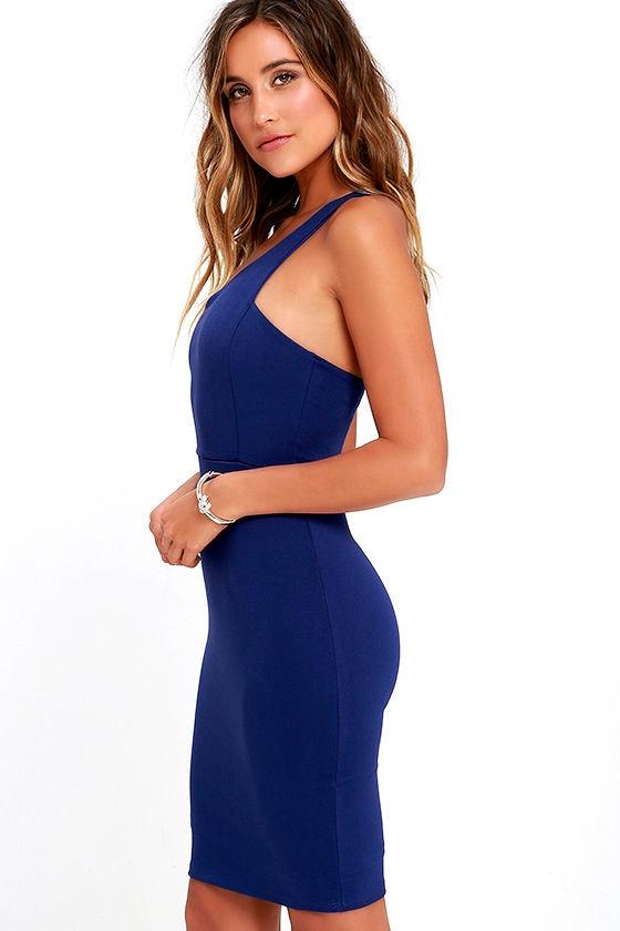Sexy Royal Blue Dress - One Shoulder Dress - Bodycon Dress - $46.00