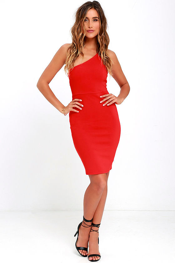 21c5e010af Sexy Coral Red Dress - One Shoulder Dress - Bodycon Dress -  46.00