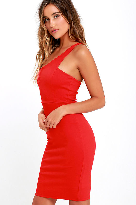 Sexy Coral Red Dress - One Shoulder Dress - Bodycon Dress - $46.00