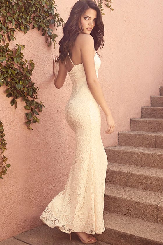 Lovely Cream Gown - Lace Dress - Maxi Dress - $88.00
