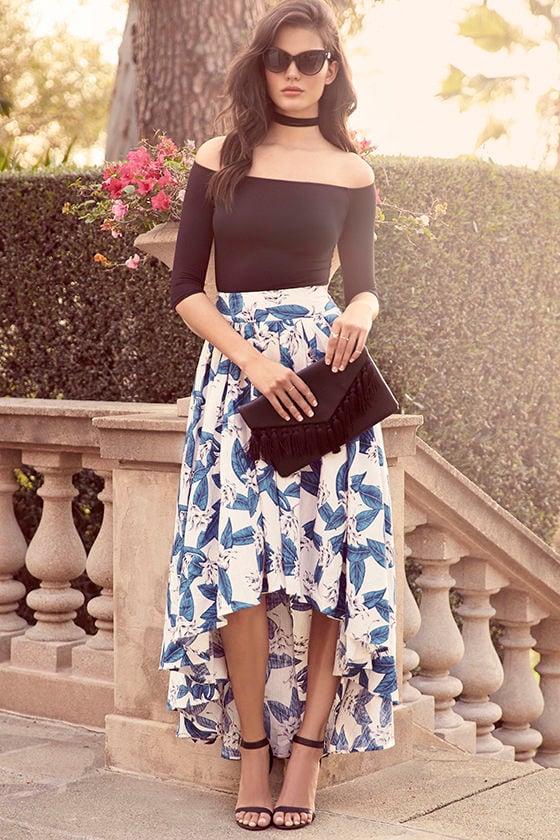 1e950a27e394 Floral Print Skirt - High-Low Skirt - Blue and Ivory Skirt - $99.00