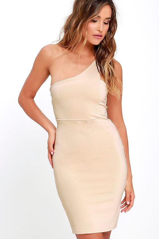 Sexy beige dress one shoulder dress bodycon dress for Beige dress for wedding guest