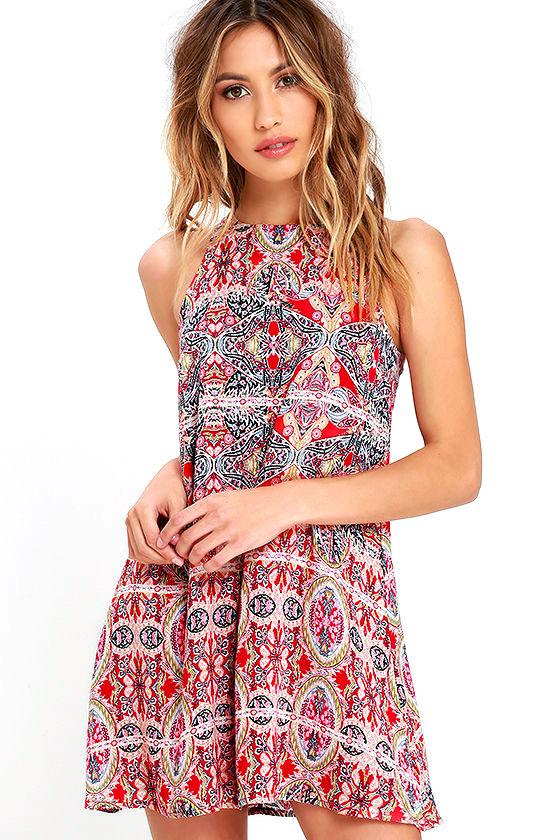 Lovely Red Print Dress - Swing Dress - Sleeveless Dress - $39.00