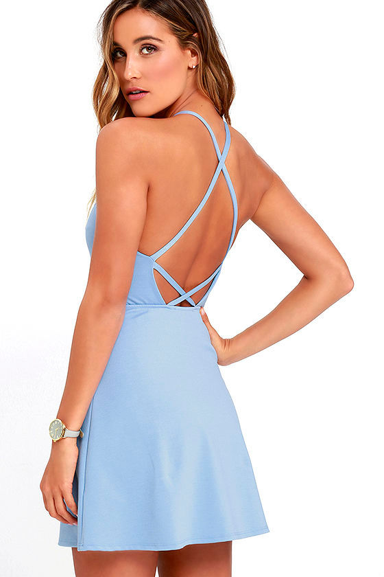 Periwinkle Blue Dress - A-Line Dress - Fit-and-Flare Dress ...