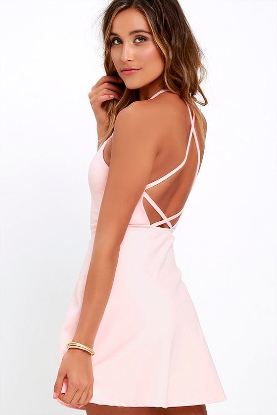 c9fbb45b458 Light Pink Dress - A-Line Dress - Fit-and-Flare Dress - Backless Dress -   42.00