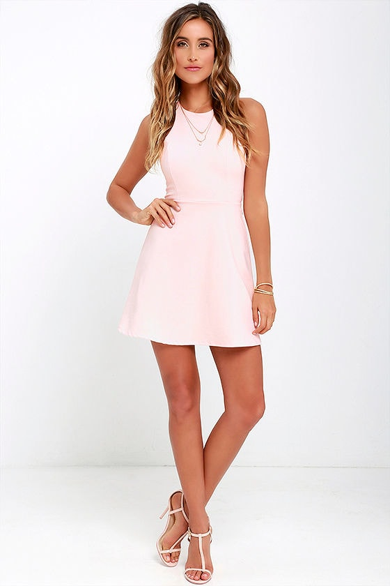 Light Pink Dress - A-Line Dress - Fit-and-Flare Dress - Backless ...