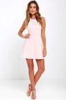 light pink dress a line dress fit and flare dress backless