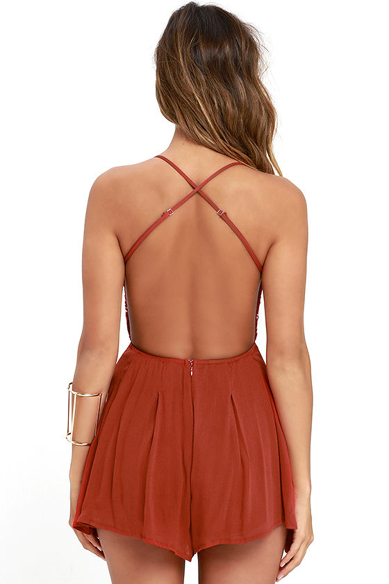 Star Spangled Rust Red Backless Lace Romper 4