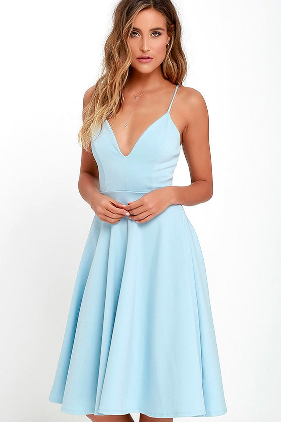 e5f46eab Lovely Light Blue Dress - Midi Dress - Skater Dress - $54.00