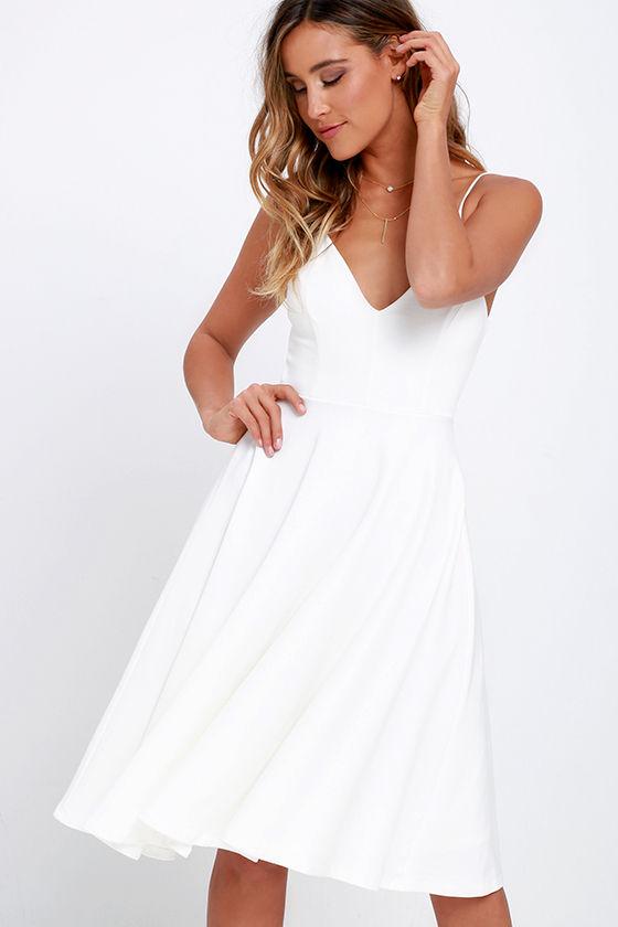 Lovely Ivory Dress - Midi Dress - Skater Dress - White Dress -  54.00 bc948a86e