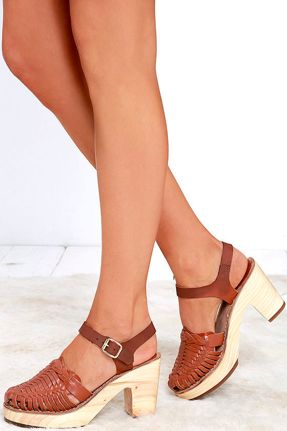 820540cc041 Cute Tan Clogs - Leather Clogs - Heeled Sandals -  97.00