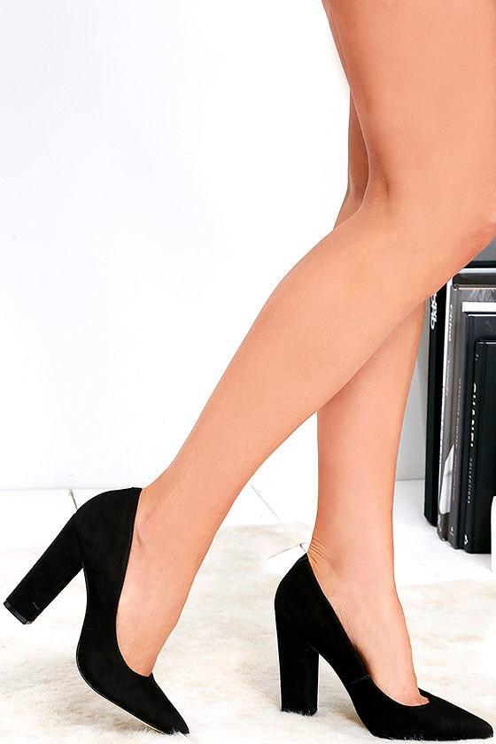 fdc67cda3d6 Cute Black Pumps - Block Heel Pumps - Black Heels -  99.00