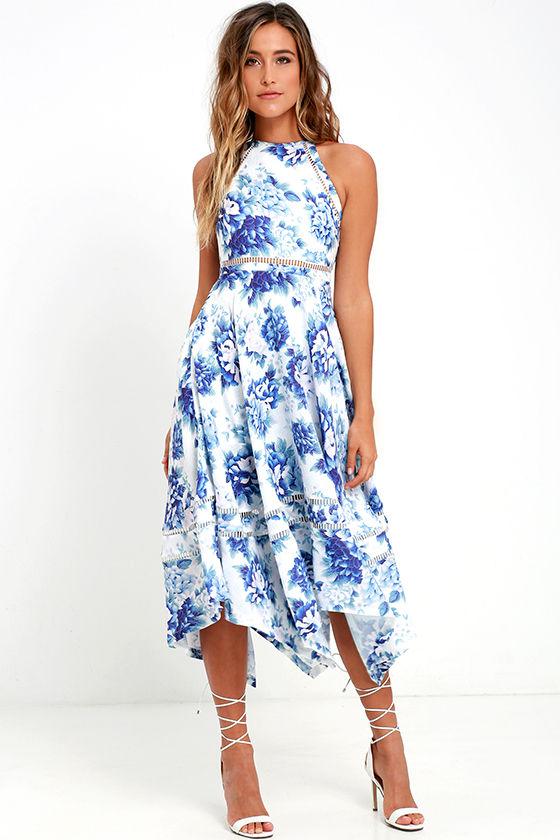 Elliatt Flourish Dress - Blue Floral Print Dress - Print Midi ...