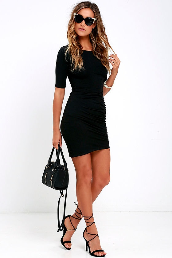 Steal Your Attention Black Bodycon Dress 2