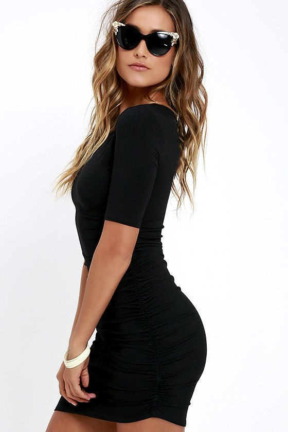 Steal Your Attention Black Bodycon Dress 3