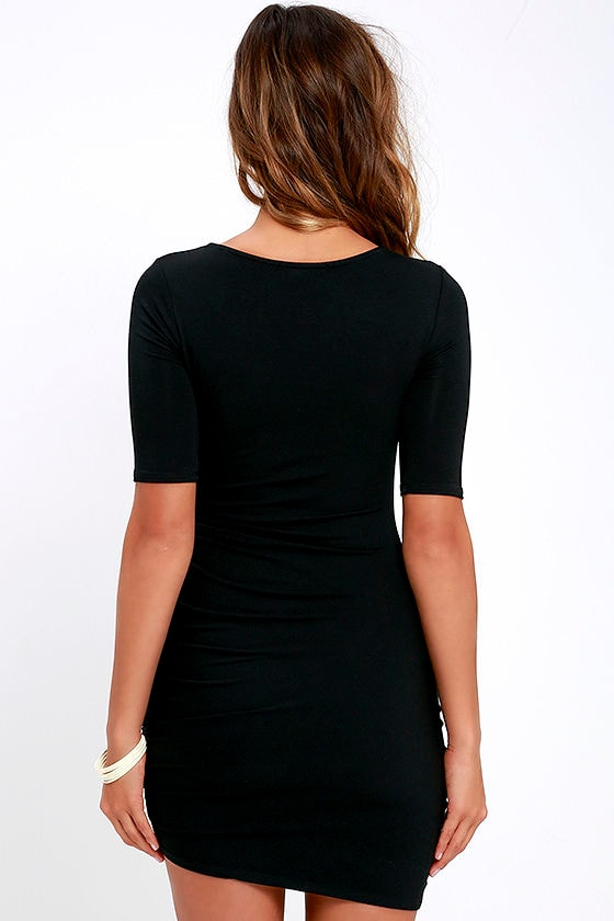 Steal Your Attention Black Bodycon Dress 4