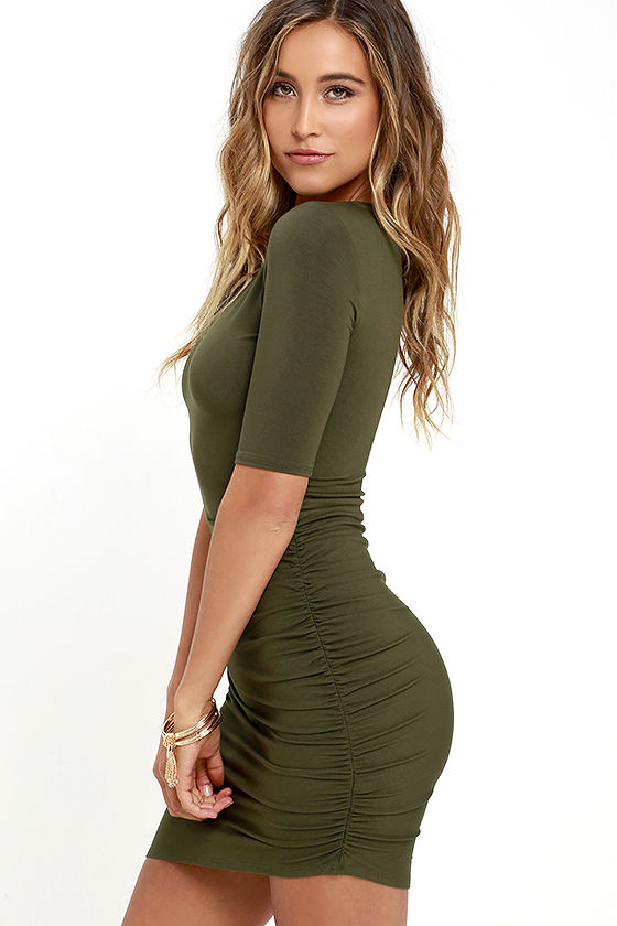 Steal Your Attention Olive Green Bodycon Dress 3