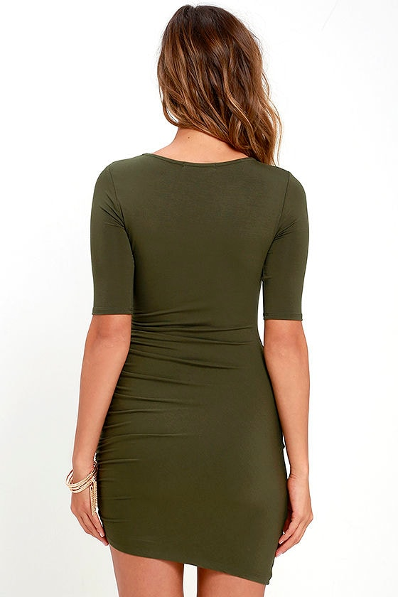 Steal Your Attention Olive Green Bodycon Dress 4