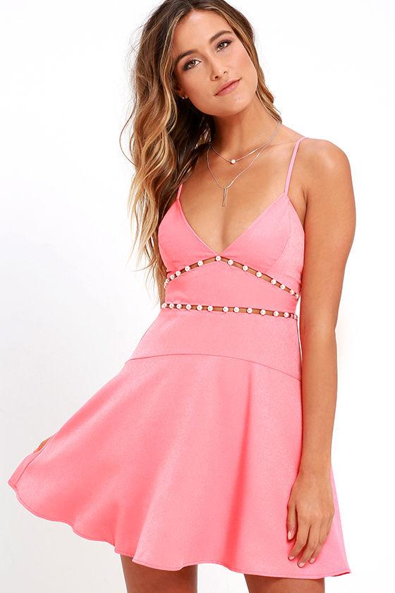 NBD Pink Champagne Coral Pink Skater Dress