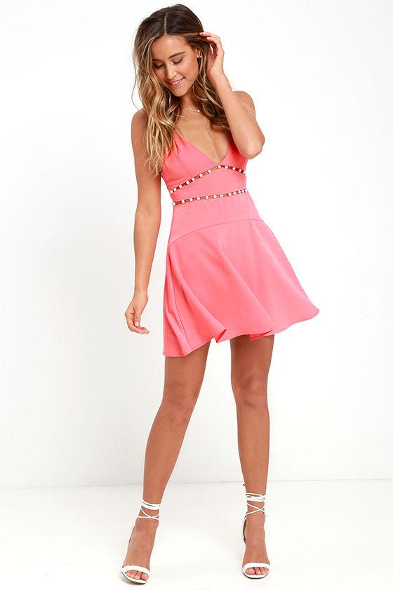 NBD Pink Champagne Dress - Coral Dress - Skater Dress - Cutout ...