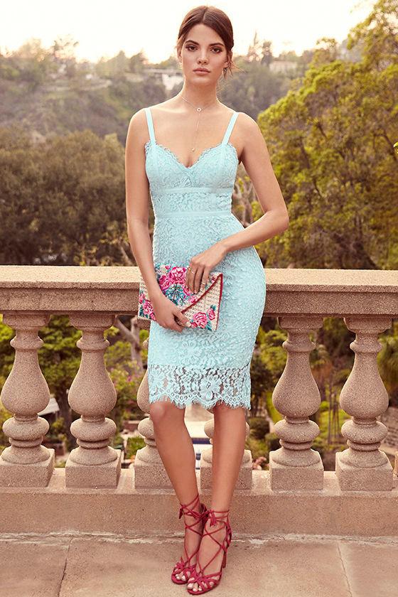 6d2741be2b1 Stunning Light Blue Dress - Lace Dress - Midi Dress - Sheath Dress ...