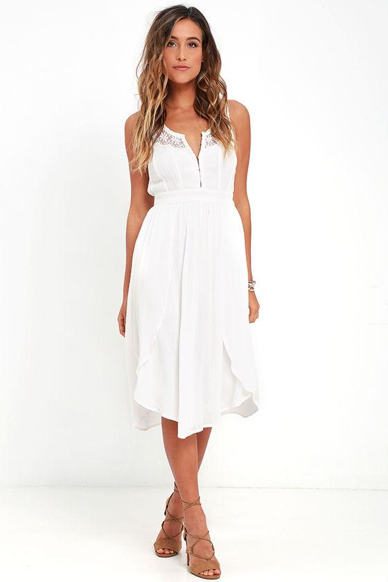Amuse Society Kinley - Cream Dress - Lace Dress - Midi Dress - $69.50