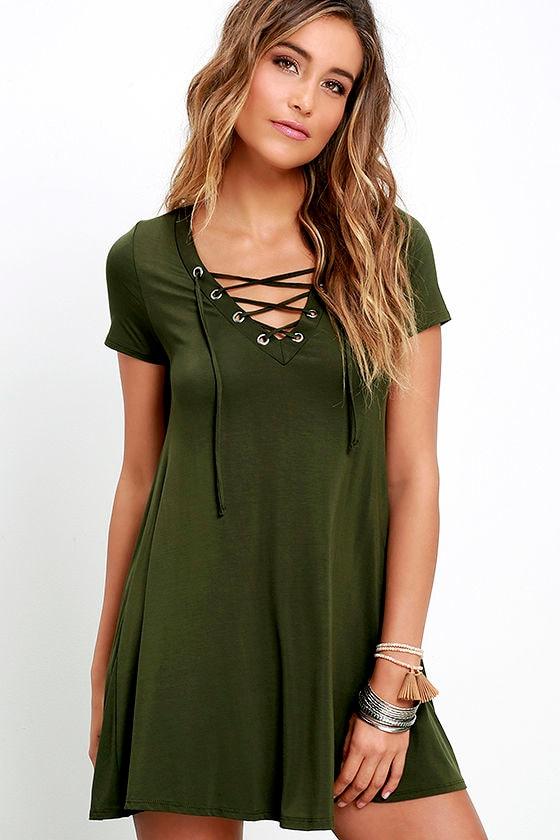 Cute Olive Green Dress - Lace-Up Dress - Jersey Knit Dress - $42.00