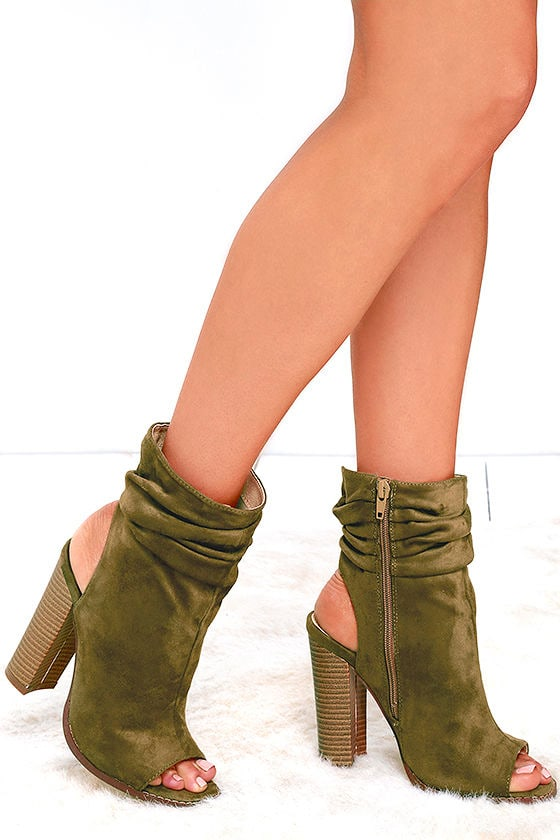 Only the Latest Olive Suede Peep-Toe Booties 2