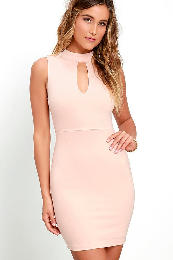 fe16b0512fcc Sexy Blush Pink Dress - Bodycon Dress - Mock Neck Dress -  49.00