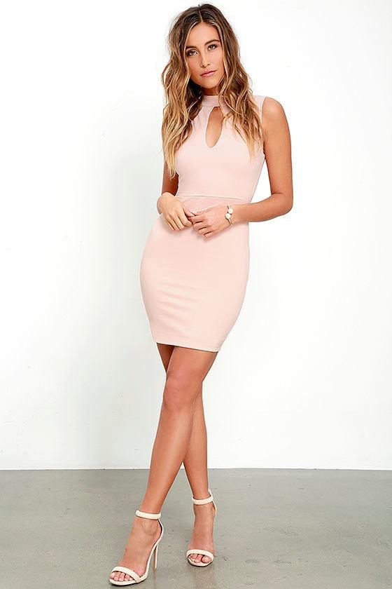 593f991ffa17 Sexy Blush Pink Dress - Bodycon Dress - Mock Neck Dress -  49.00