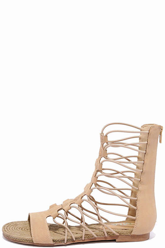 acac41631 Cute Nude Sandals - Gladiator Sandals - Flat Sandals - $57.00