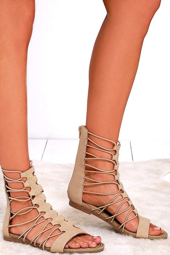 cdf3573b00b Cute Nude Sandals - Gladiator Sandals - Flat Sandals -  57.00