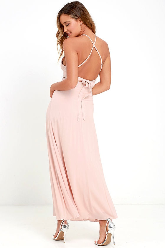 02416209bd Beautiful Blush Pink Dress - Two-Piece Dress - Maxi Dress - $79.00