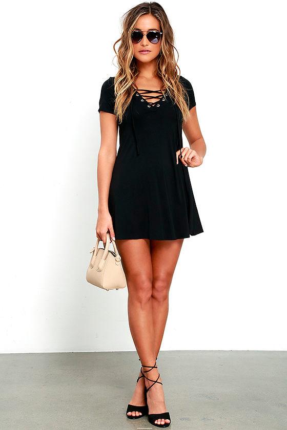 cee574a6e1c9 Cute Black Dress - Lace-Up Dress - Jersey Knit Dress - $42.00
