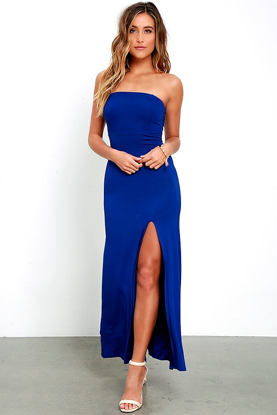 Royal Blue Strapless Dress - Maxi Dress - Backless Dress - $42.00