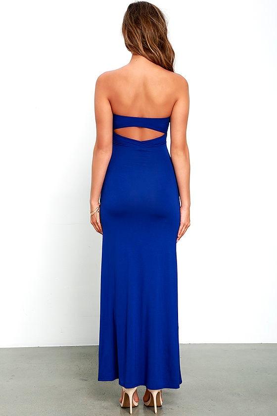 Royal Blue Strapless Dress - Maxi Dress - Backless Dress - $42.00
