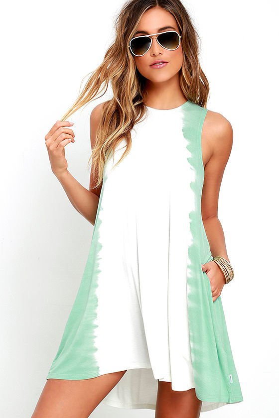 RVCA Sucker Punched Sage Green Tie-Dye Swing Dress 1