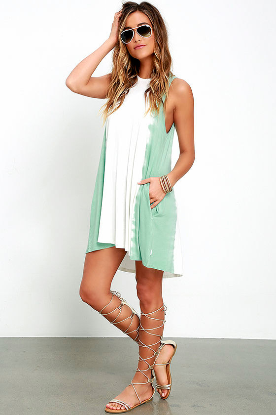 RVCA Sucker Punched Sage Green Tie-Dye Swing Dress 2