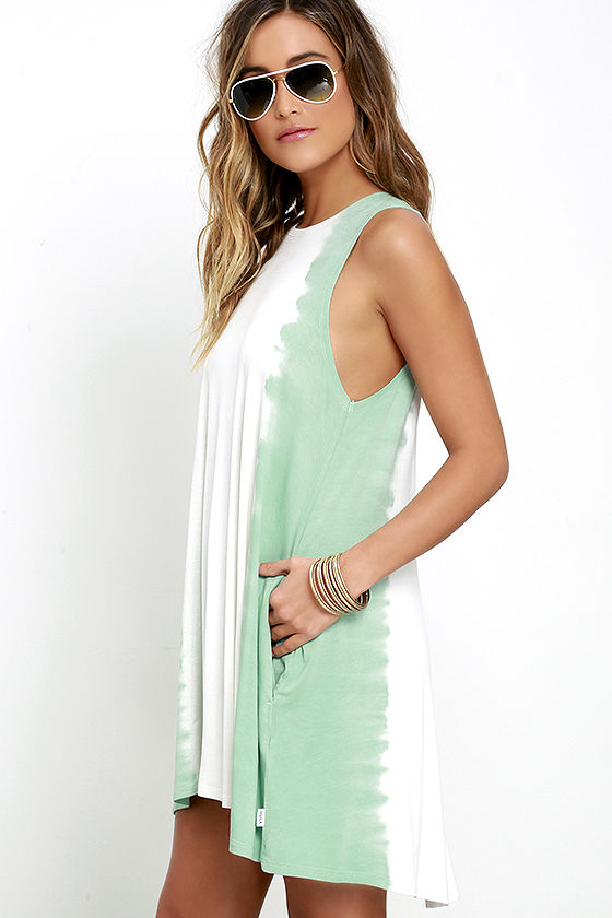 RVCA Sucker Punched Sage Green Tie-Dye Swing Dress 3