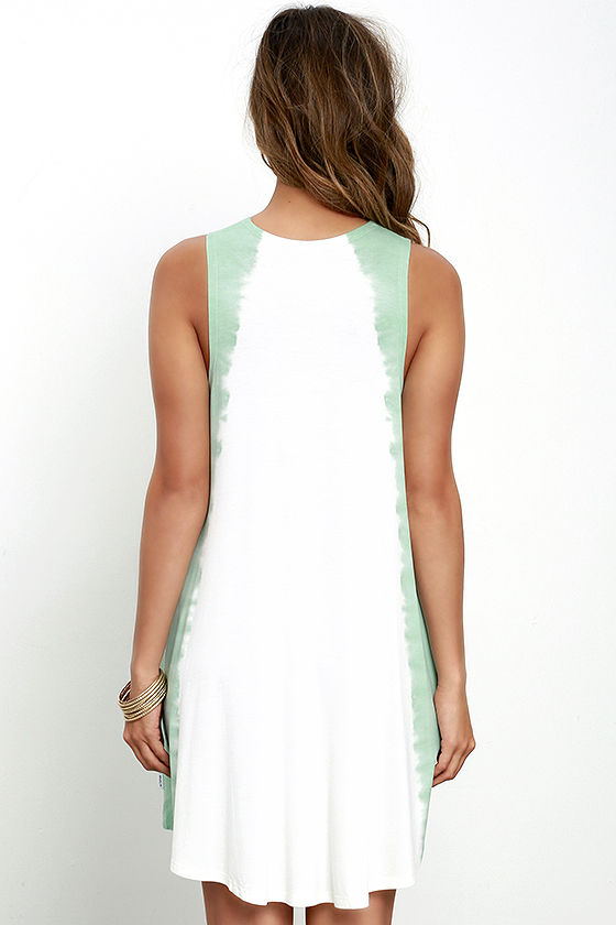 RVCA Sucker Punched Sage Green Tie-Dye Swing Dress 4